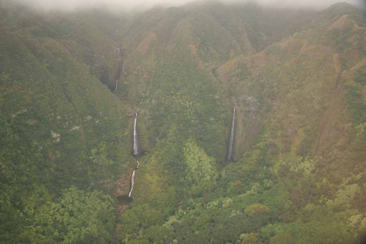 Moa'ula Falls and Hipuapua Falls from the air