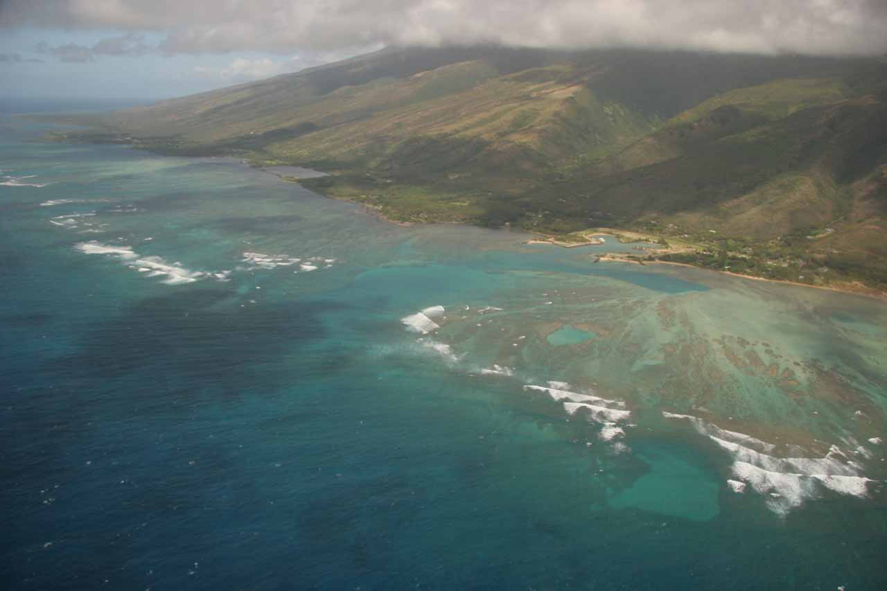 Aerial view of the reefs and fish ponds facing the drier southern shores of Moloka'i