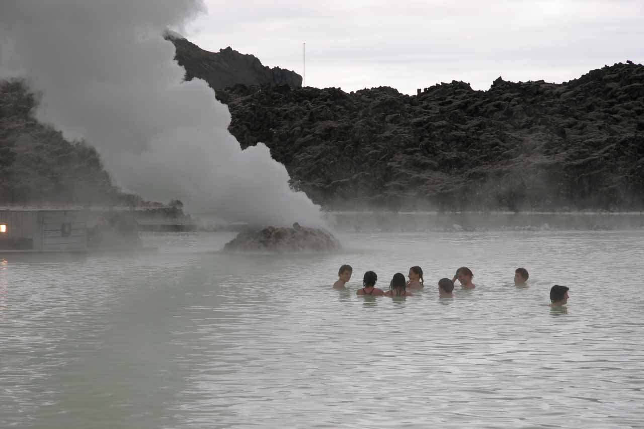 Chilling near the geothermal vents at the geothermally heated Blue Lagoon