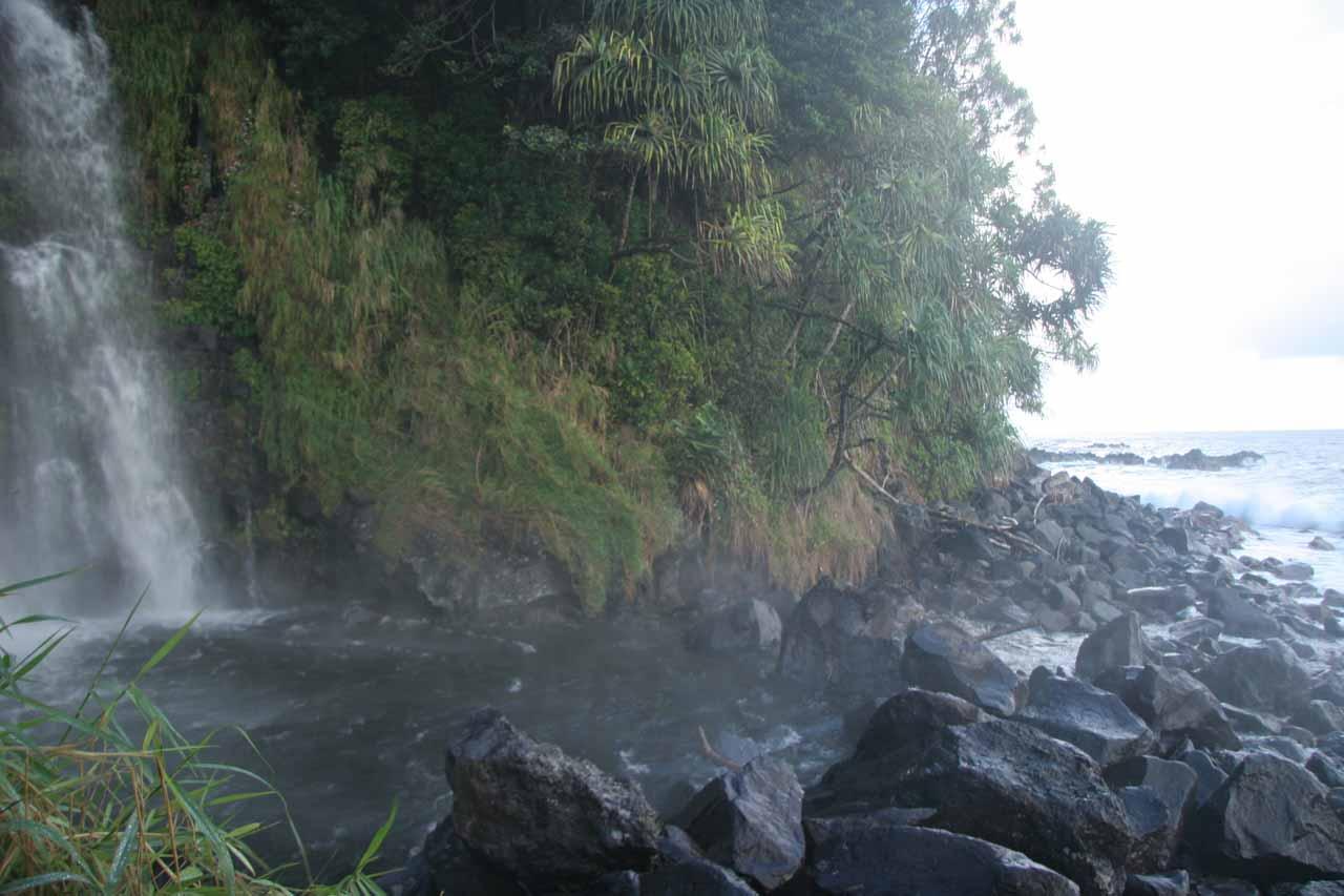 Gushing ocean-facing waterfall at the Blue Pool