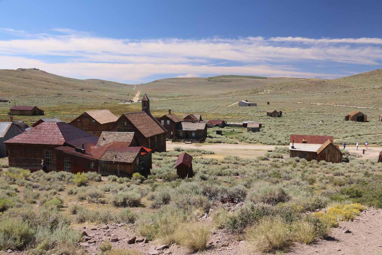 Looking down towards the west end of Bodie from atop a small hill