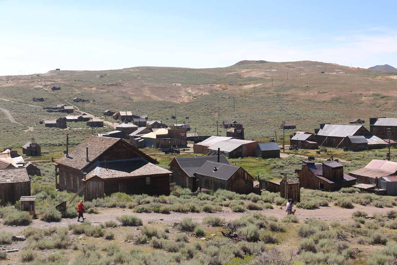 Looking towards part of Bodie that stretches to the south of town seen from atop a small hill