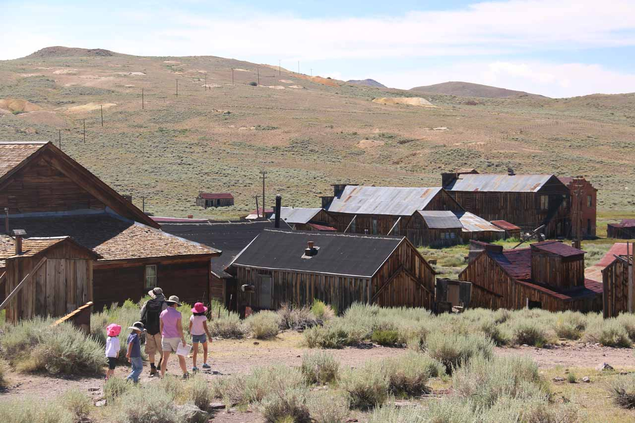 Tahia following Ed, Cindy, Kai, and Hannah as they explored other buildings in Bodie