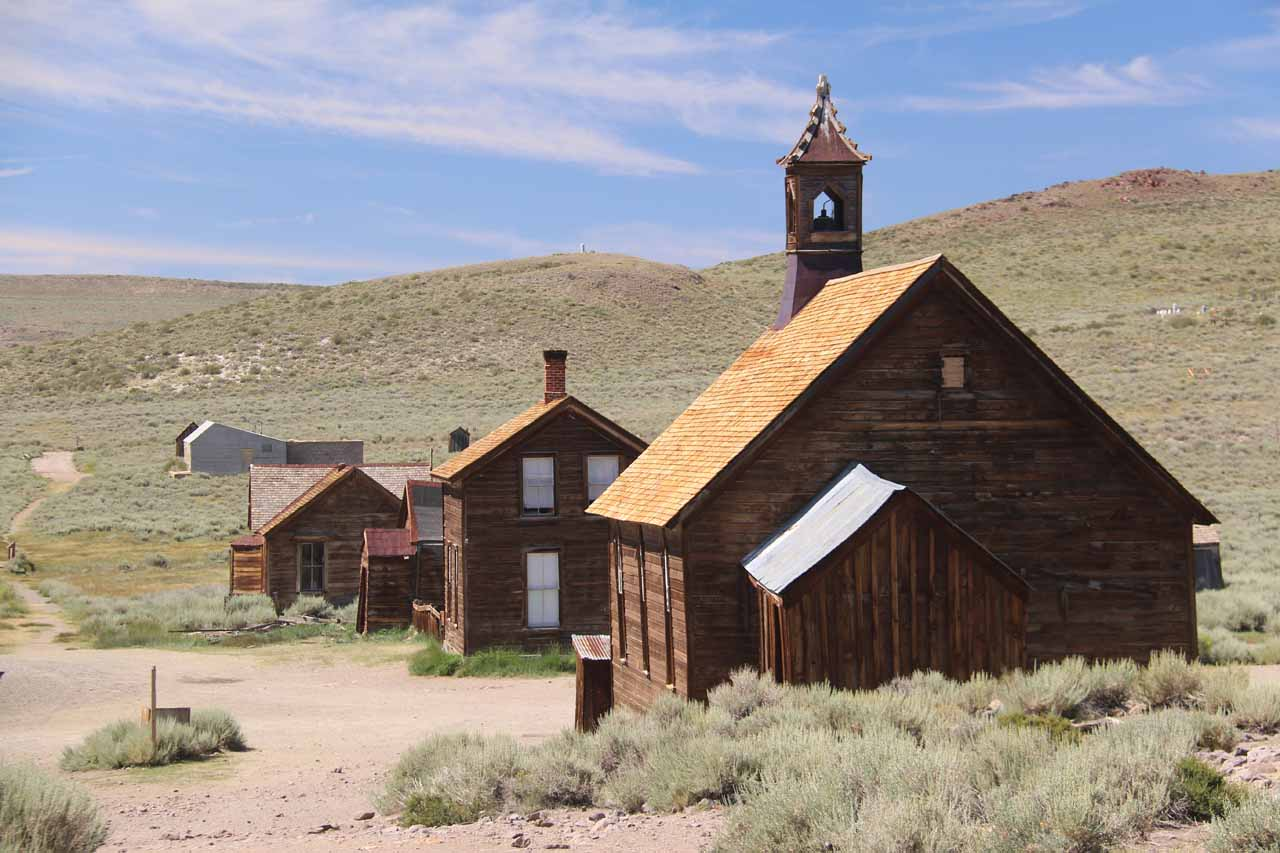 Approaching one of the churches in Bodie