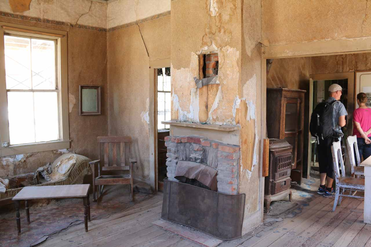 Looking inside one of the buildings of Bodie with old furniture so we could see how people lived back then