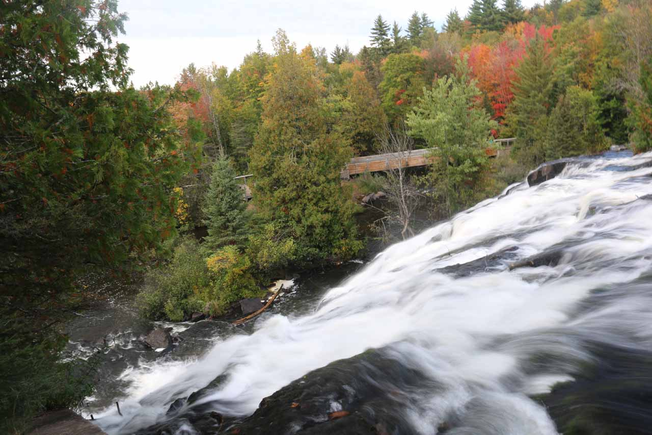Looking downstream towards Fall colors from the brink of Bond Falls