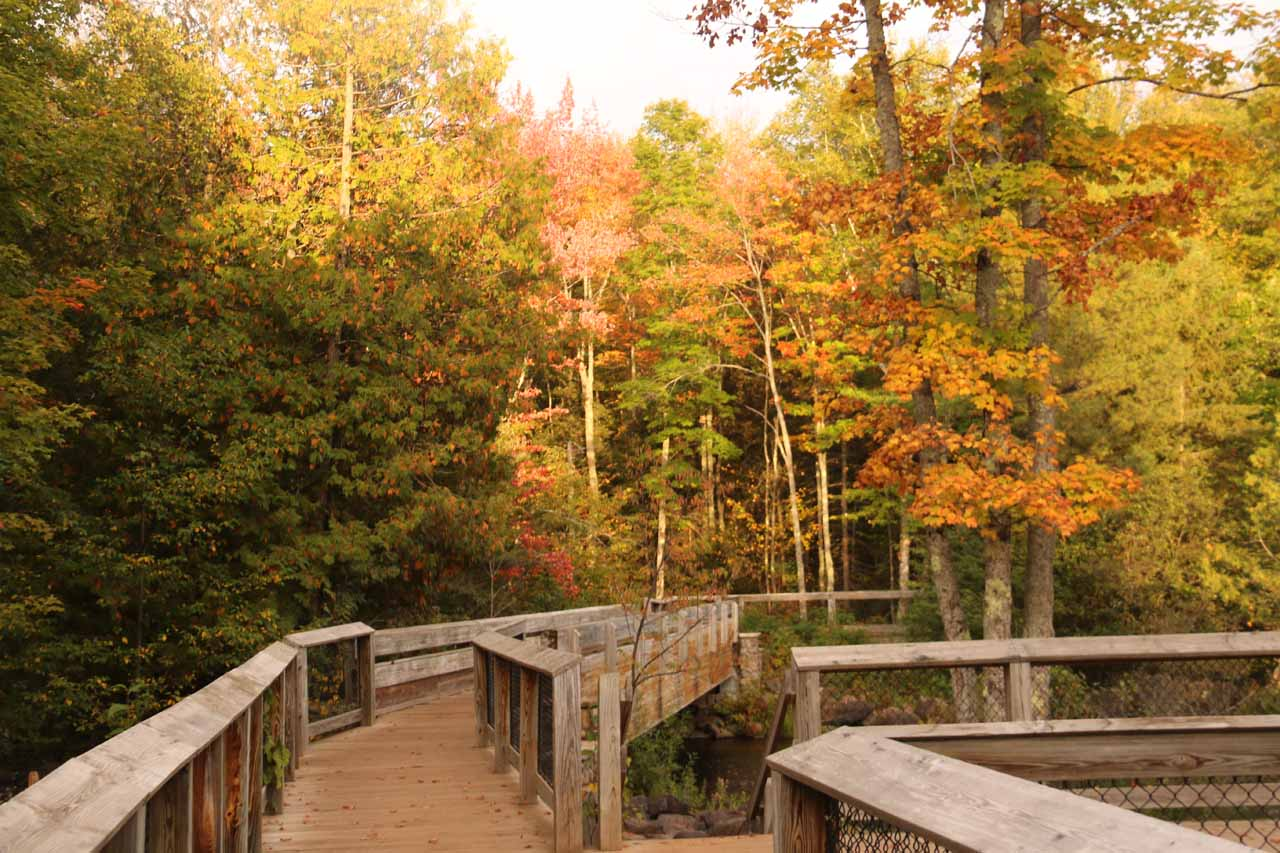 Nice Autumn colors surrounding the boardwalk for Bond Falls