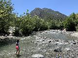 Bonita_Falls_024_iPhone_06122020 - Context of Tahia looking towards the other end of Lytle Creek while wading in the rushing waters