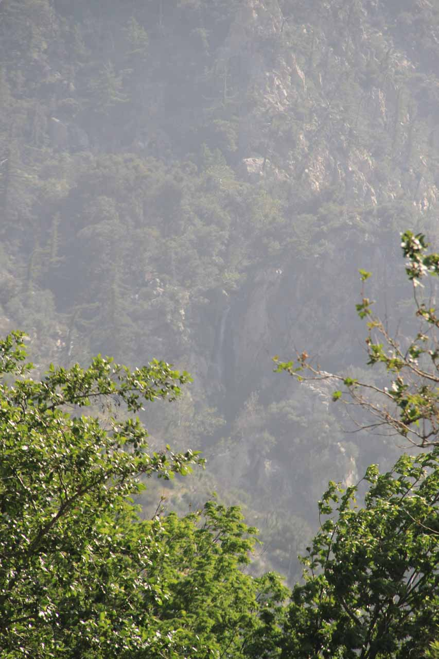 A very distant view of one of Bonita Falls' upper waterfalls