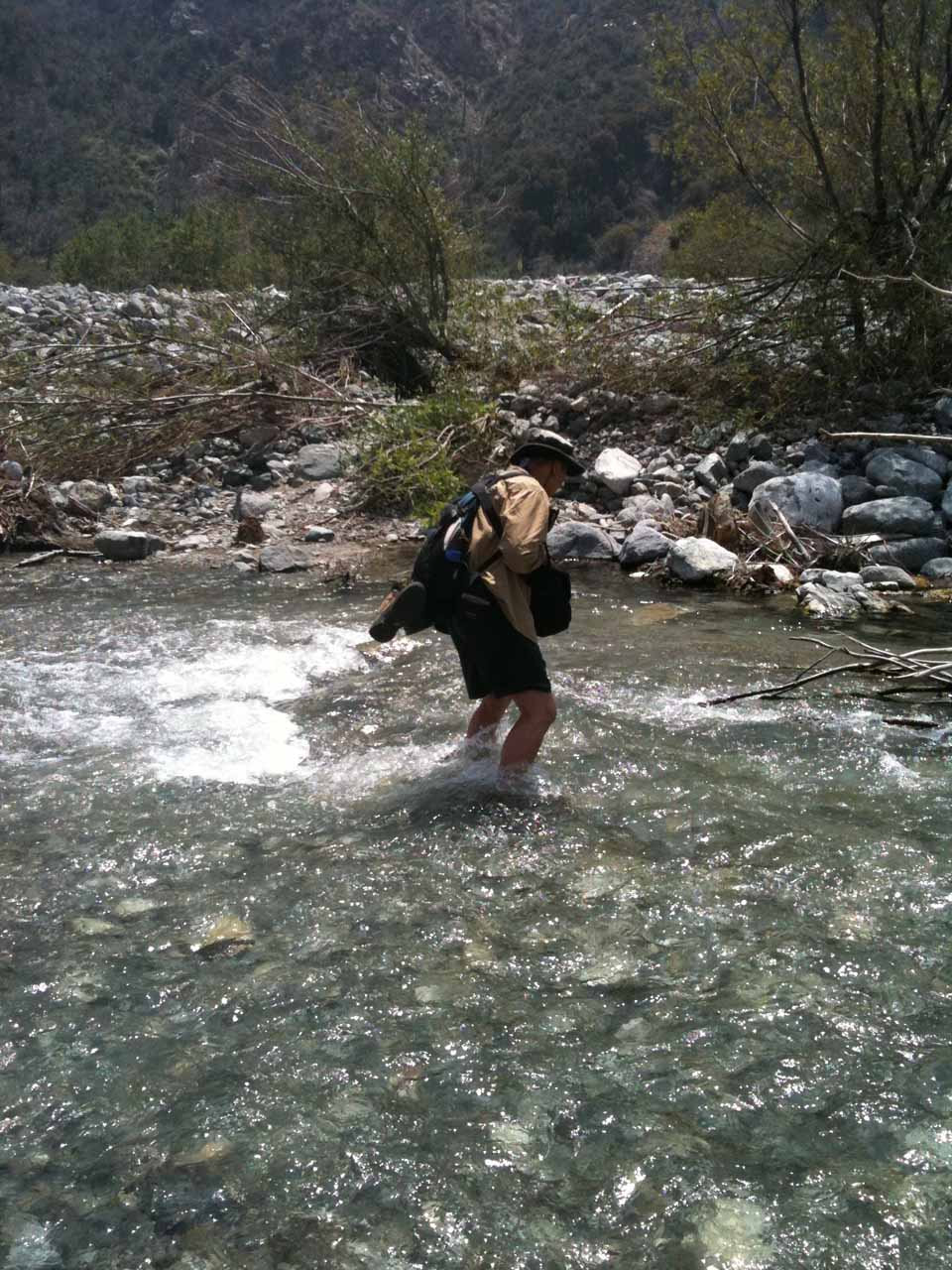 Me crossing Lytle Creek in high flow after having identified this spot as most suitable for a crossing