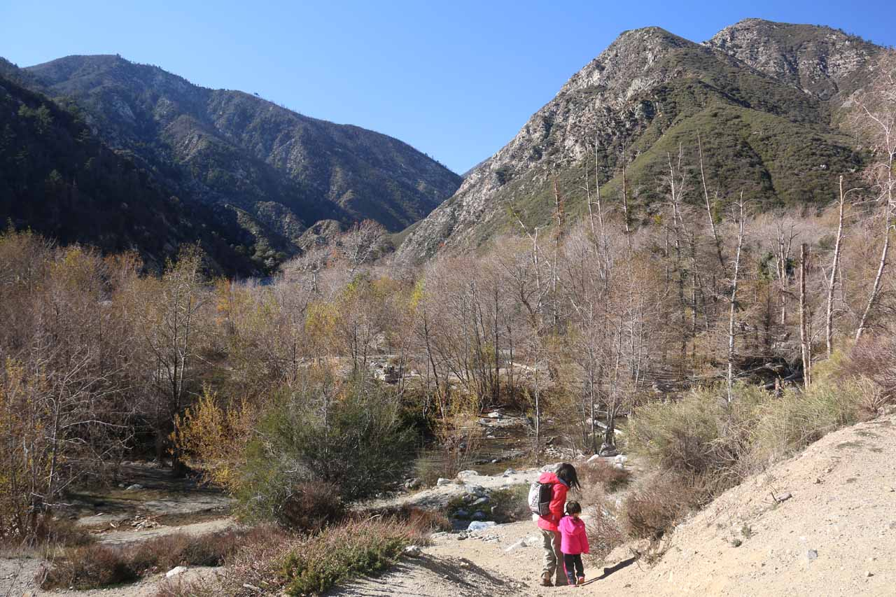 Julie and Tahia descending towards Lytle Creek in lower flow on our second visit here