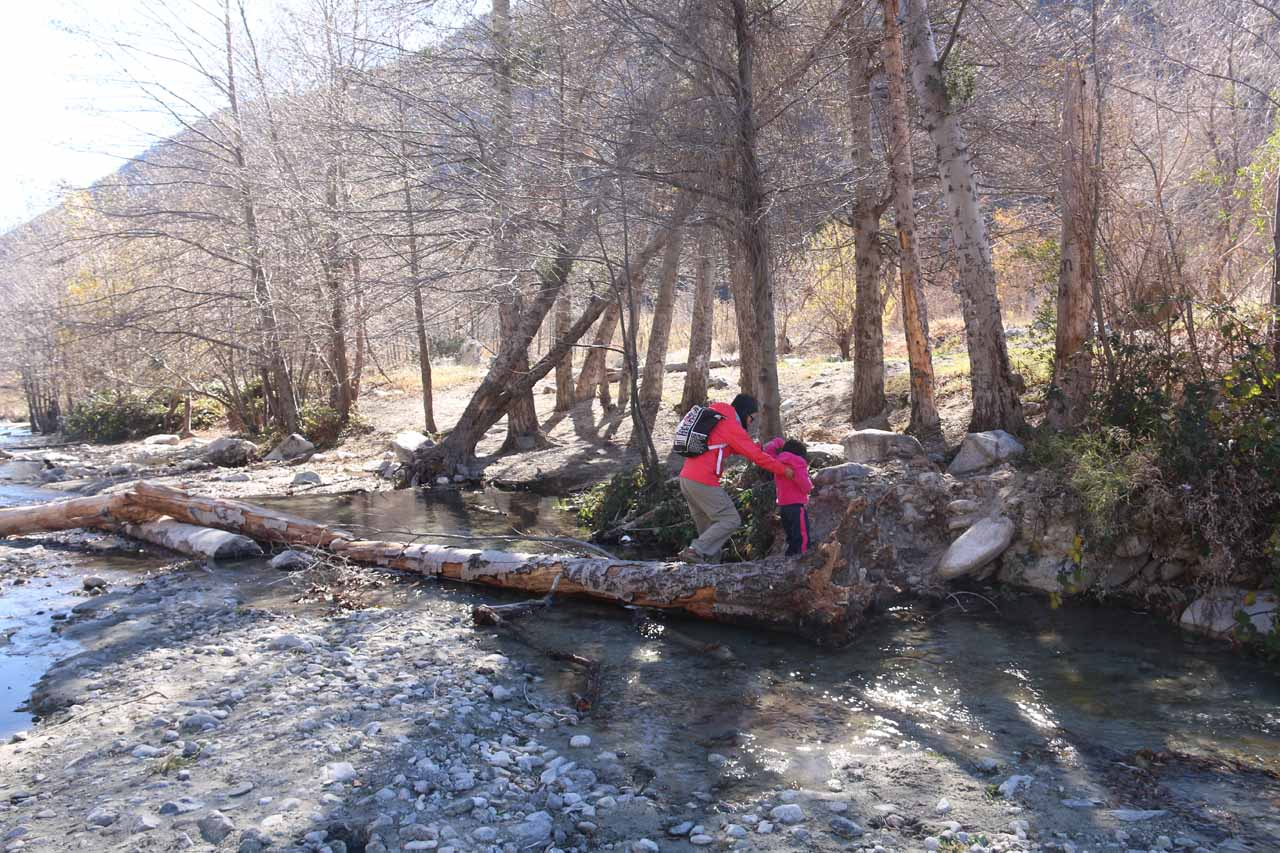 Julie and Tahia finishing their traverse of Lytle Creek in low flow without getting their socks wet