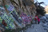Bonita_Falls_15_035_12312015 - Lots of unsightly graffiti along the wall of the wash