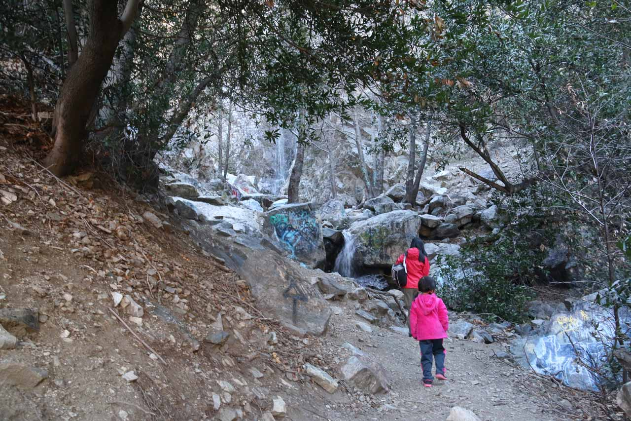 Julie and Tahia approaching the base of Bonita Falls