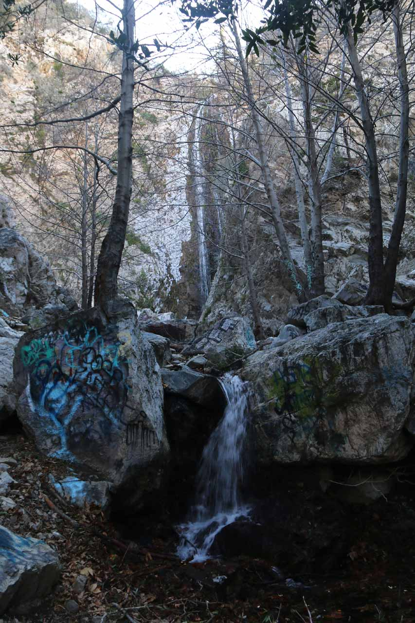Partial view of Bonita Falls through mostly bare trees as we were just about at the end of the hike