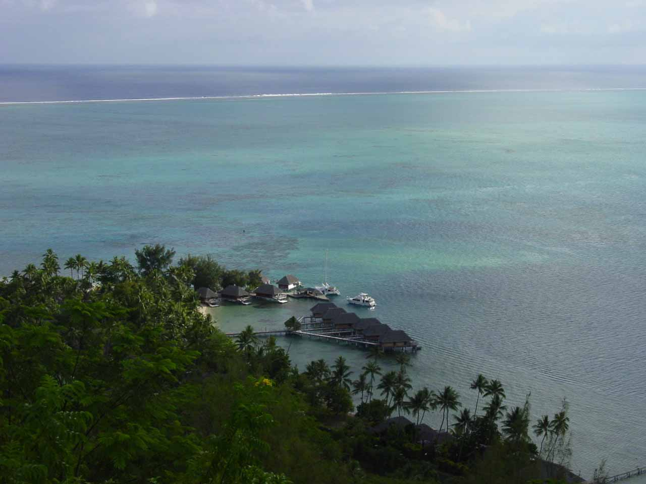 Looking over part of the old Bora Bora Hotel and some of its lagoons back in 2002