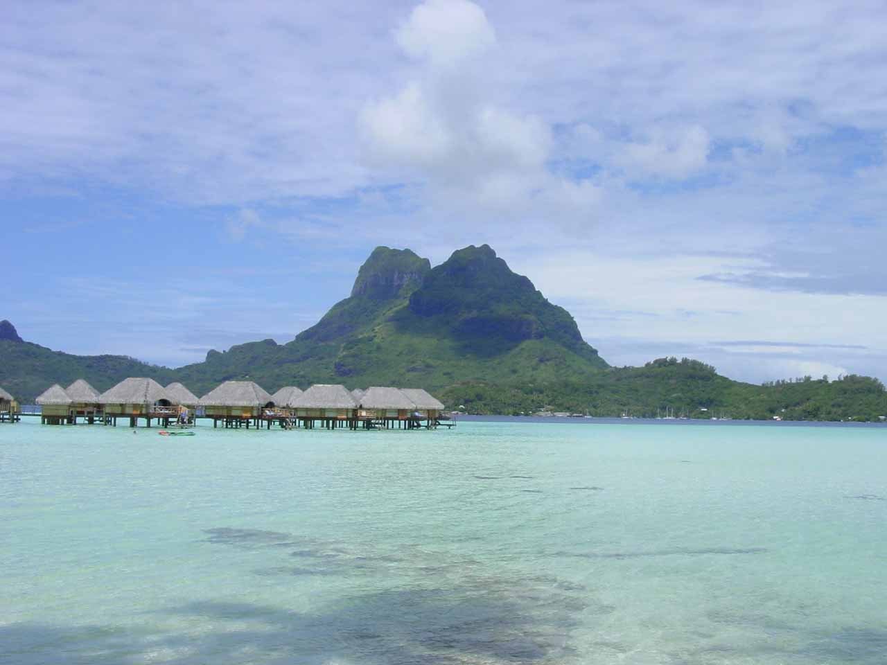 Overwater bungalows at the Bora Bora Pearl