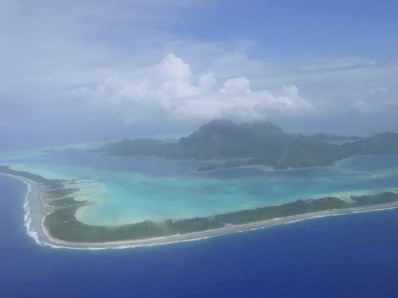 Looking over Bora Bora and its lagoons as we were approaching its airstrip in the Dry Season