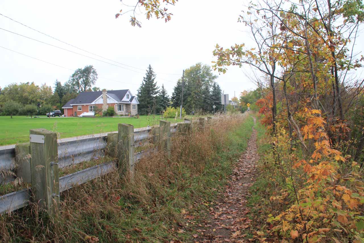 The narrow trail alongside Rock Chapel Road for Borer's Falls