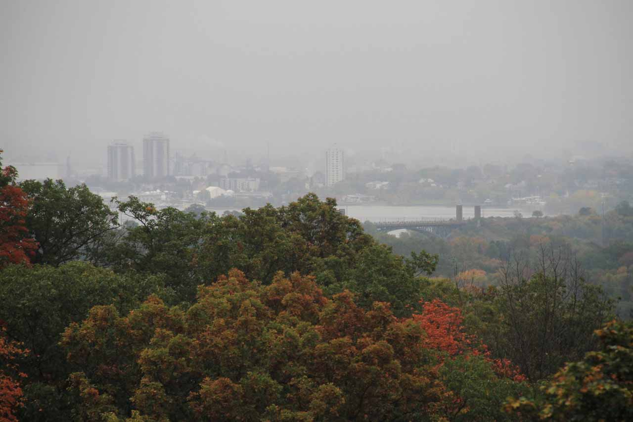 Looking through the rain towards the Greater Hamilton Area while hiking along the Escarpment Trail to Borer's Falls