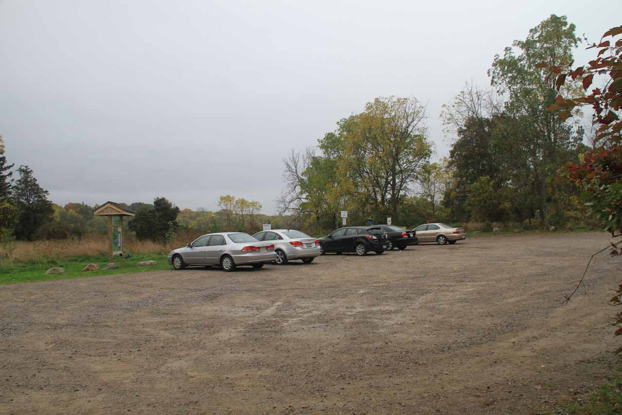This was the car park for the Rock Chapel Sanctuary, which was pretty quiet on this rainy day despite it being the Canadian Thanksgiving Weekend