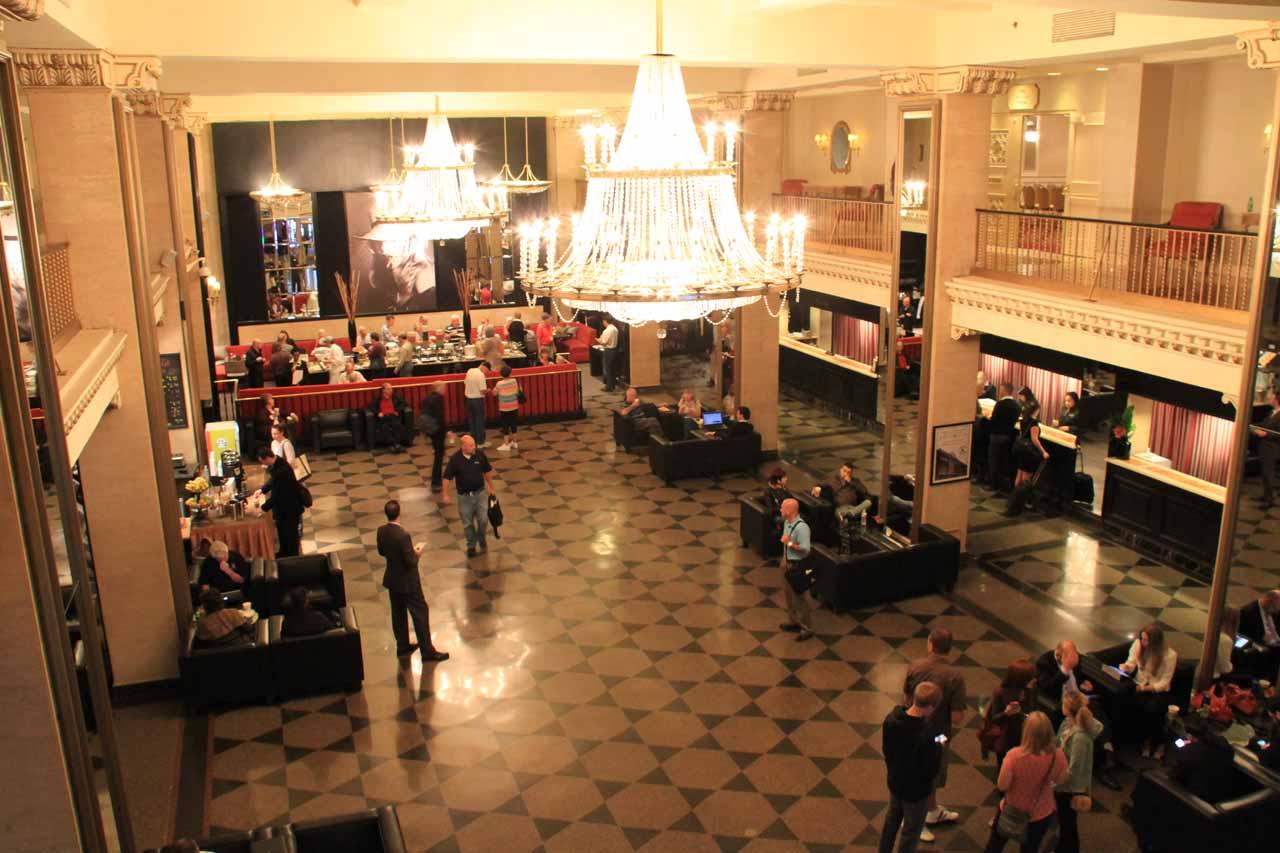 The lobby of the Boston Park Plaza Hotel