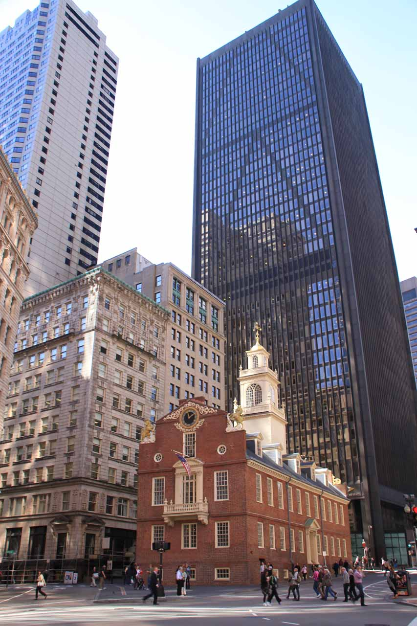 Boston (and historical sites pictured here like the Old State House where the Boston Massacre took place) is about a 2-hour drive from Chapman Falls