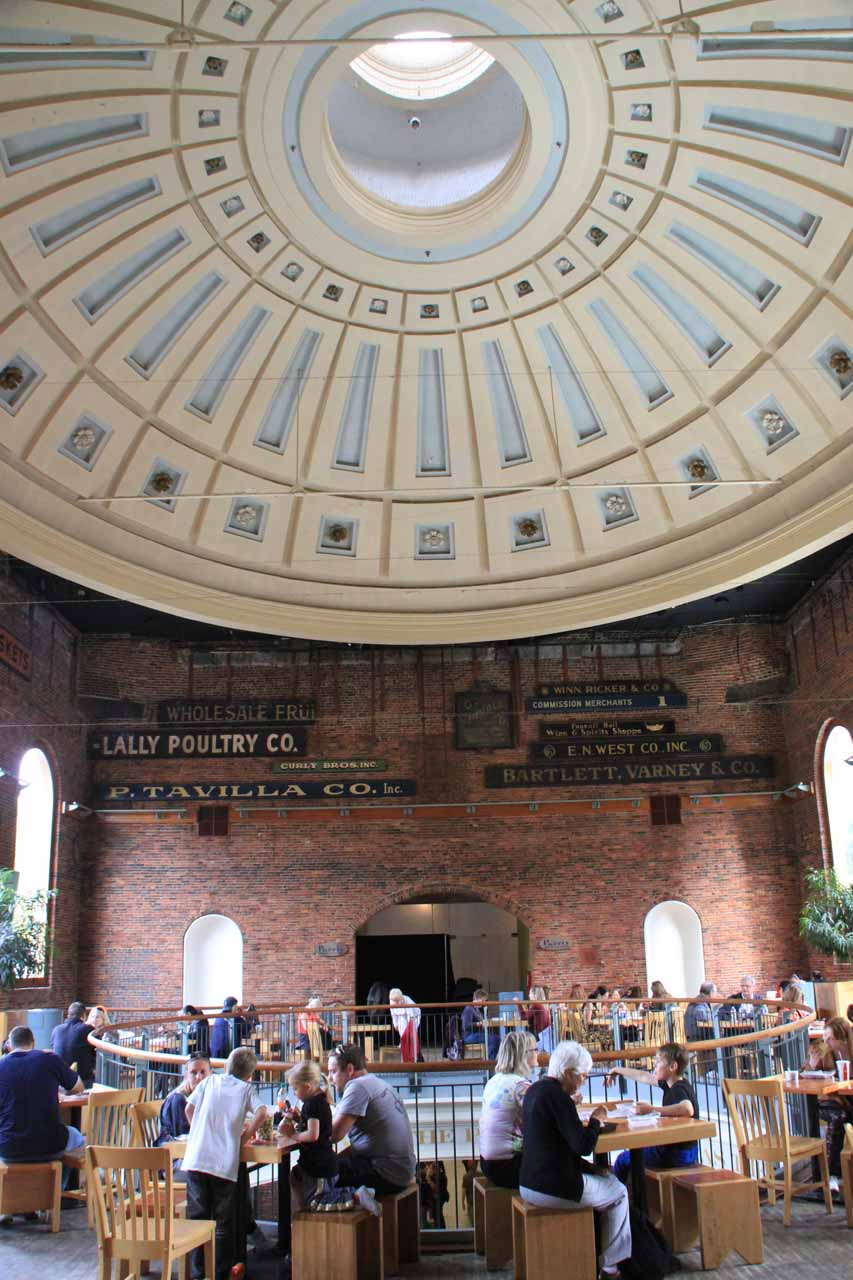One of the eating areas inside the Quincy Market
