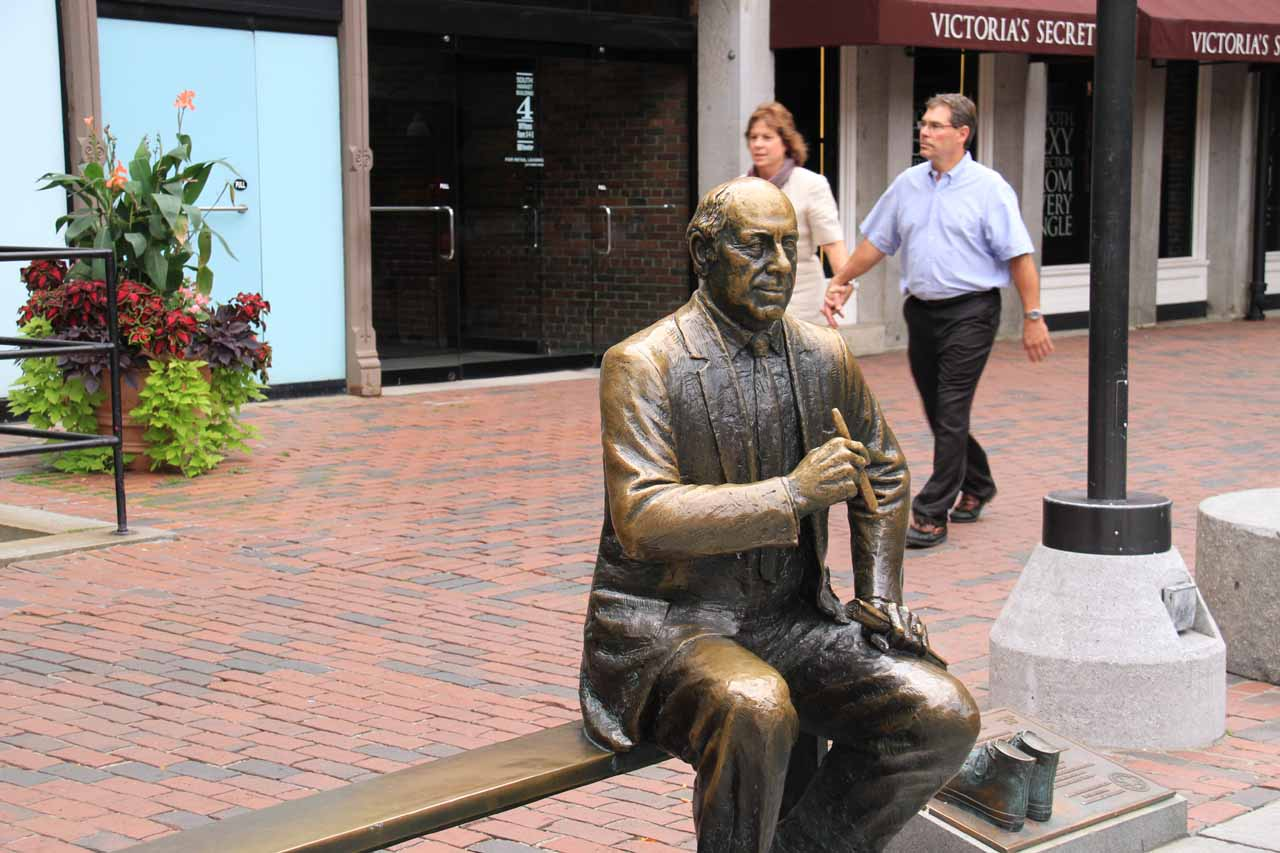 The Red Auerbach statue