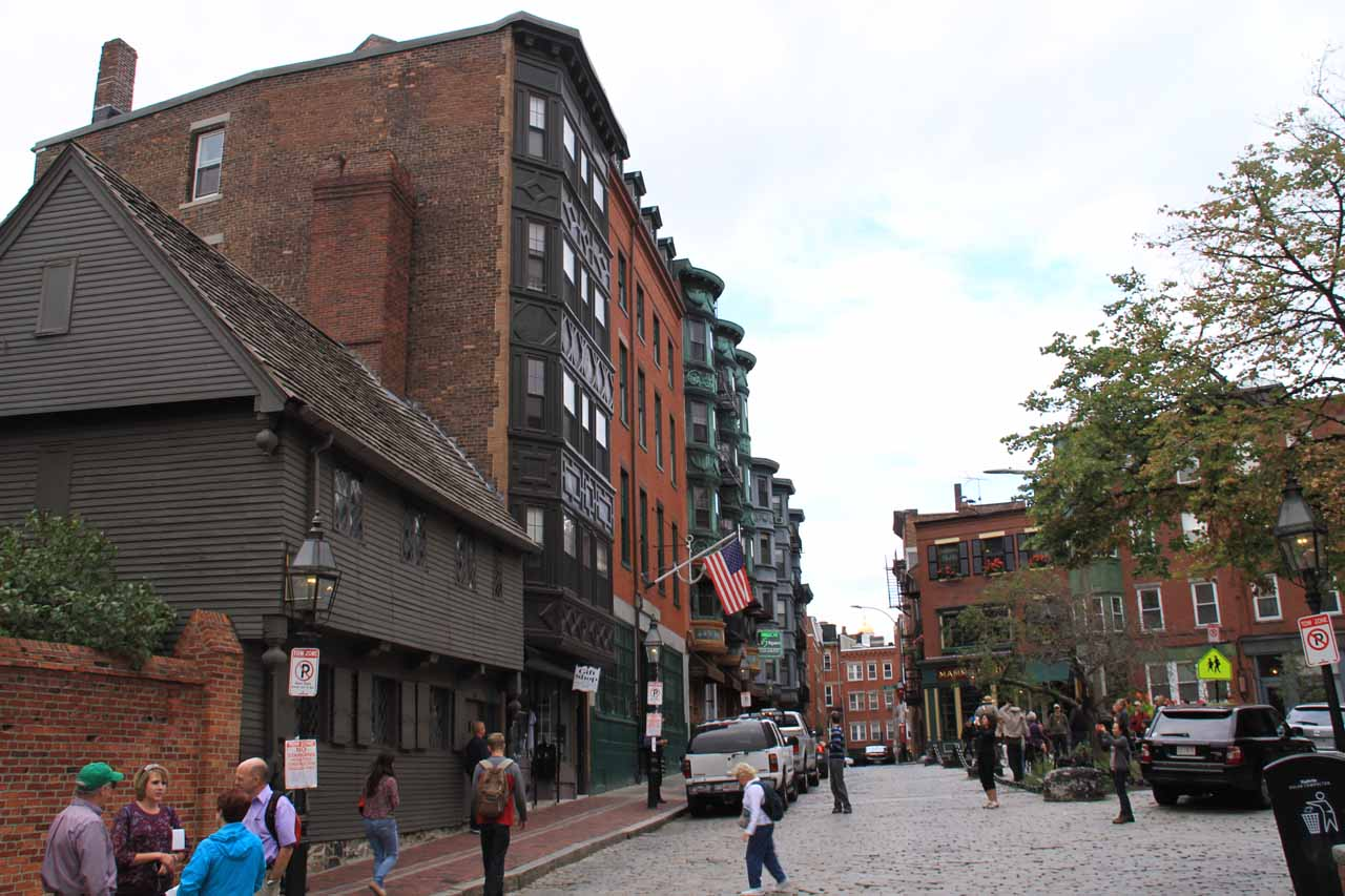 Looking in the other direction past the Paul Revere House towards the plaza