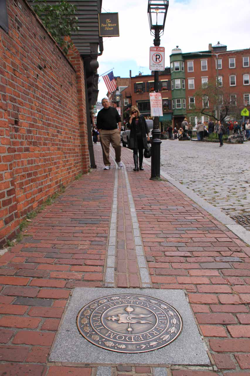 The sidewalk before the entrance to the Paul Revere House