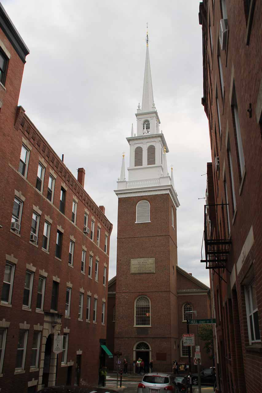 Looking up at the Old North Church