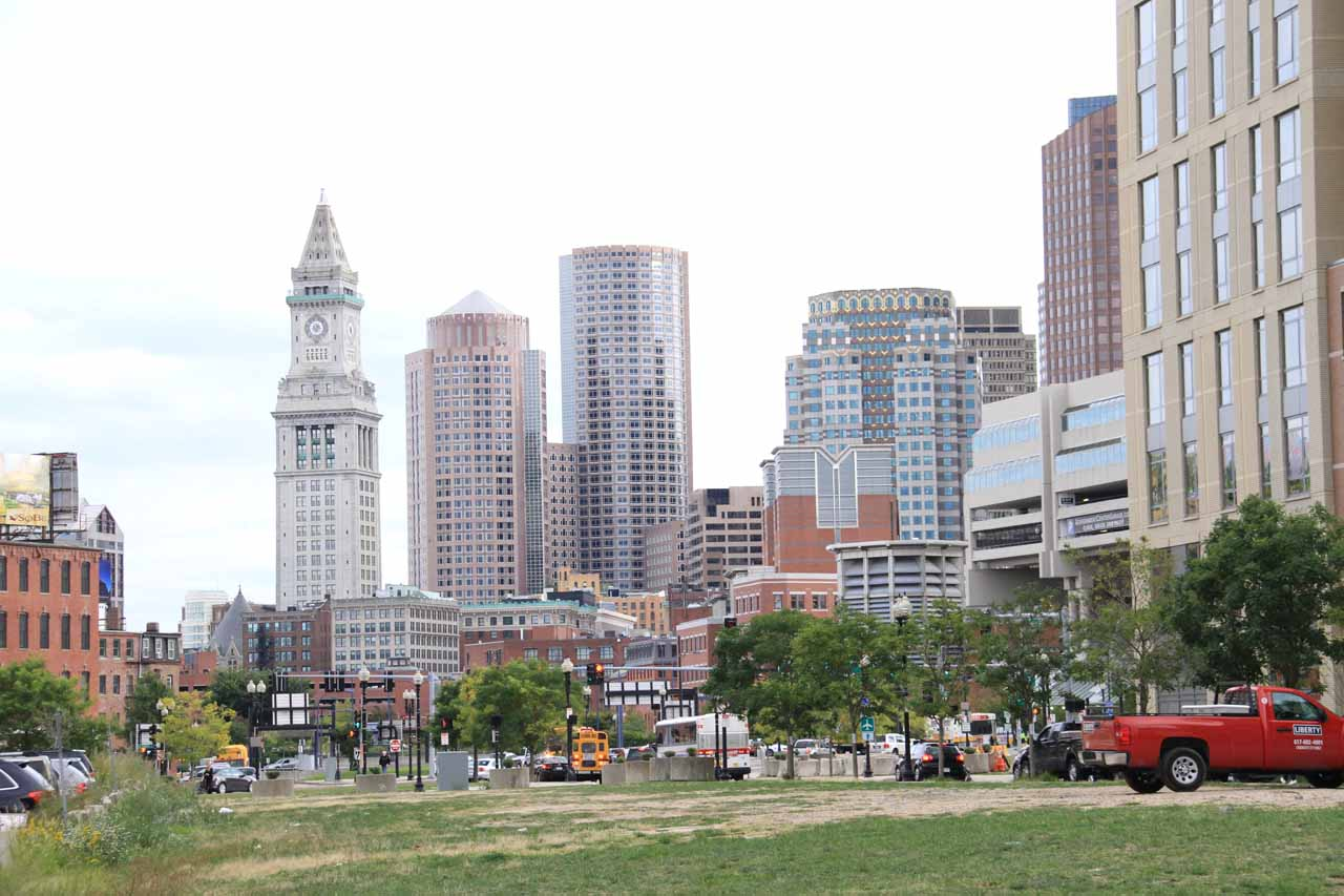 View of the Boston skyline from near the TD Arena