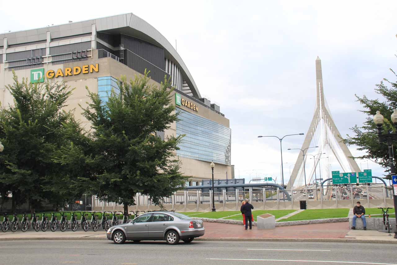 The TD Garden with the triangular bridge behind it