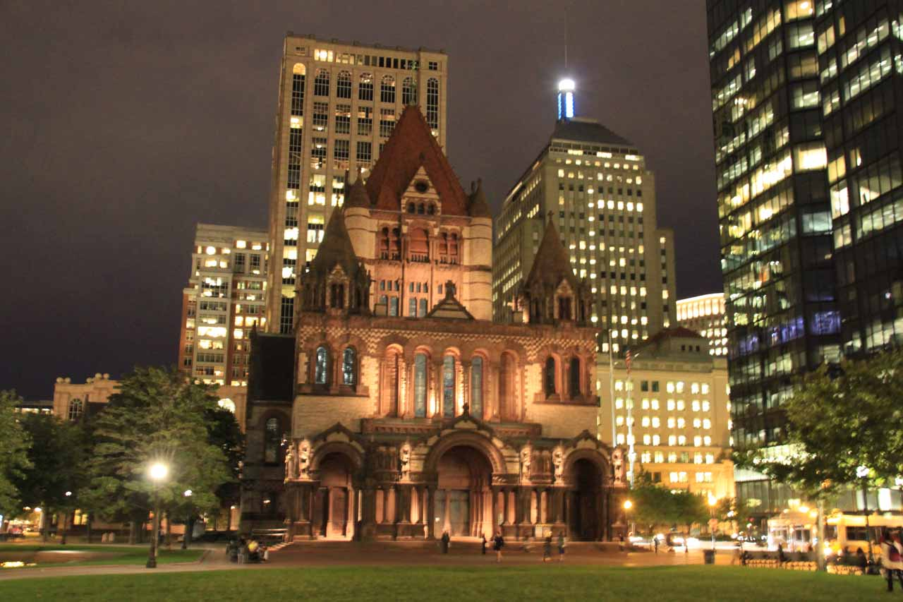 Frontal look at the Old Trinity Church at night
