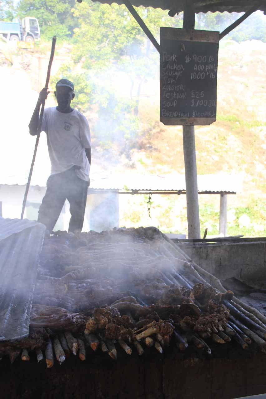 Preparing jerk at Micky's