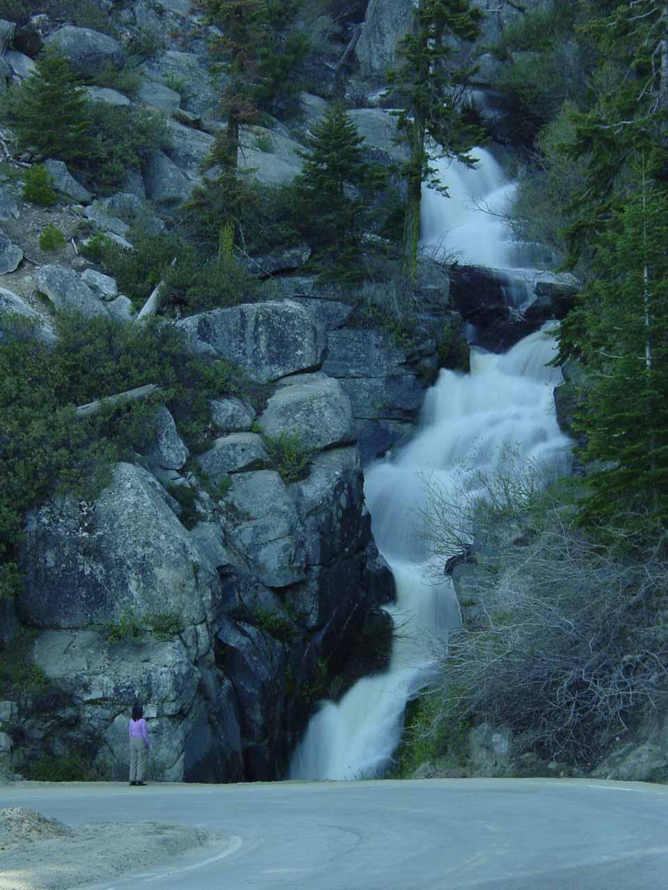 Long exposure look of Boulder Creek Falls as my mom gazes upon it