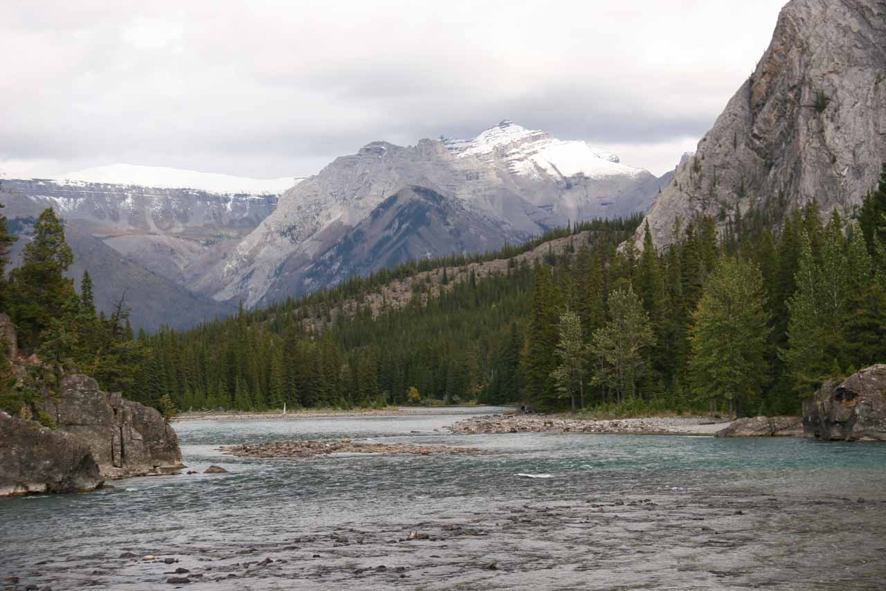 Looking downstream from the car park and viewing area for Bow Falls