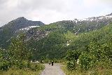 Boyabreen_070_07202019 - Looking towards waterfalls tumbling above the public car park for Bøyabreen.  I think according to Norgeskart, one of the the waterfalls up there is named Oksafossen