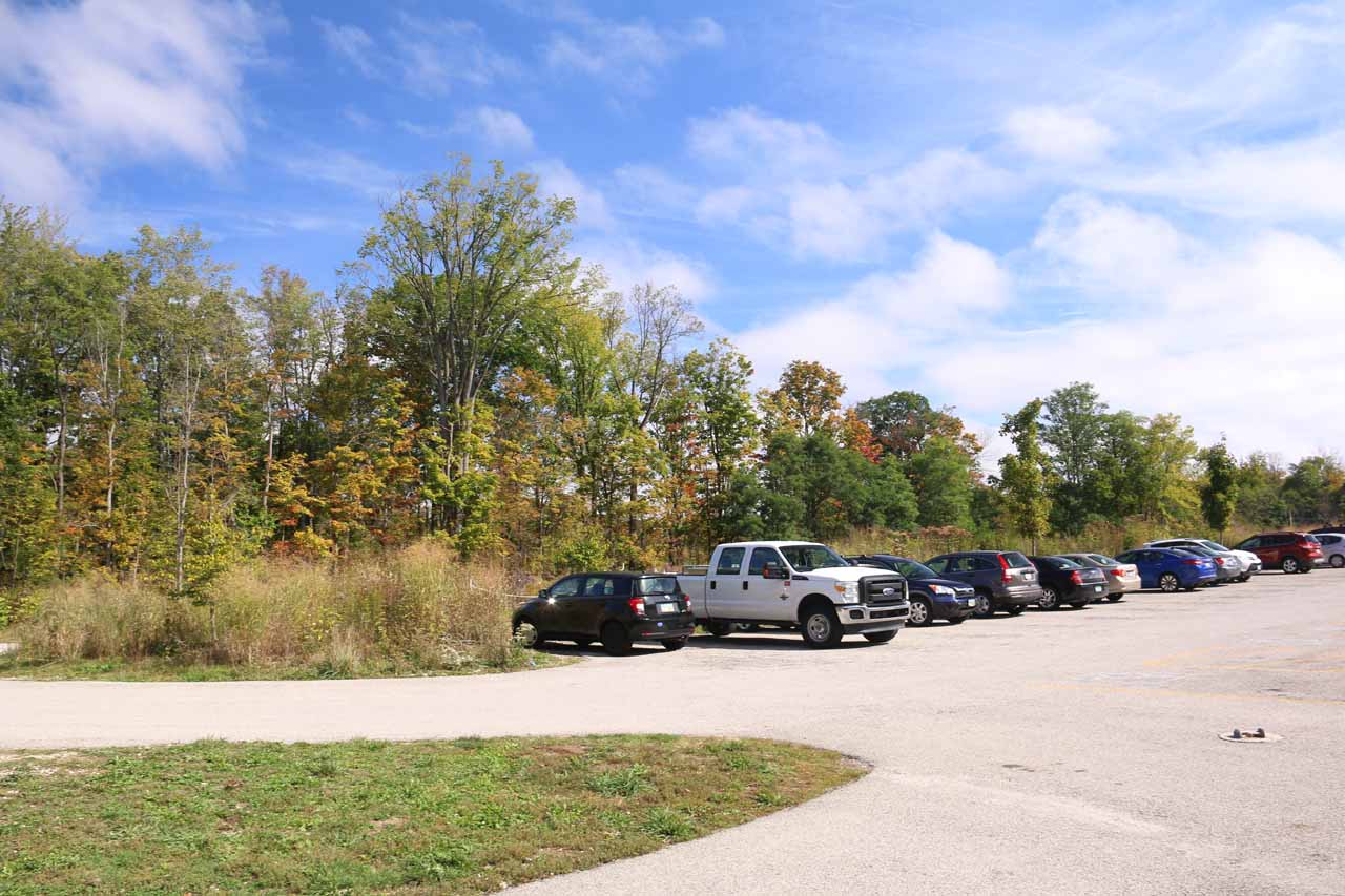 The busy car park for Brandywine Falls