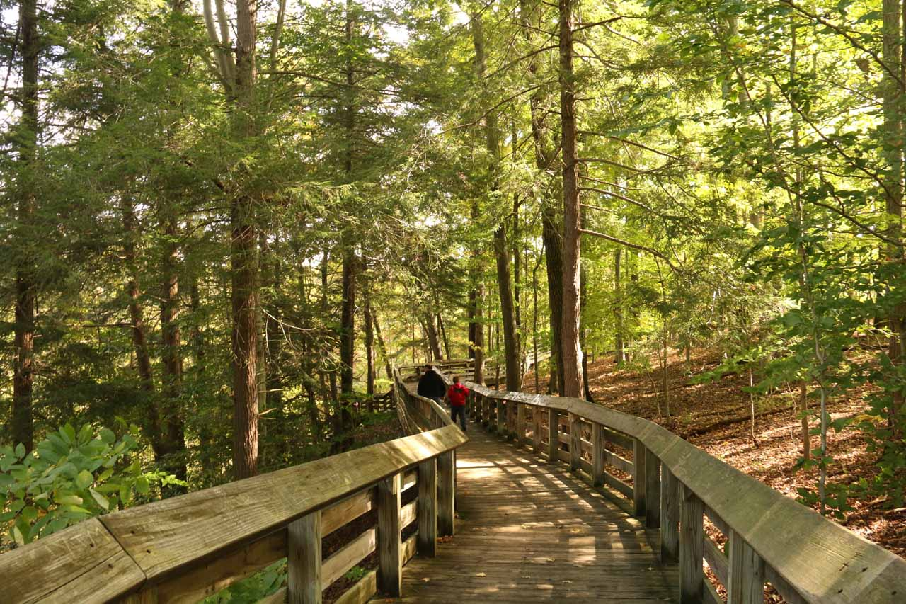 On the boardwalk leading to Brandywine Falls