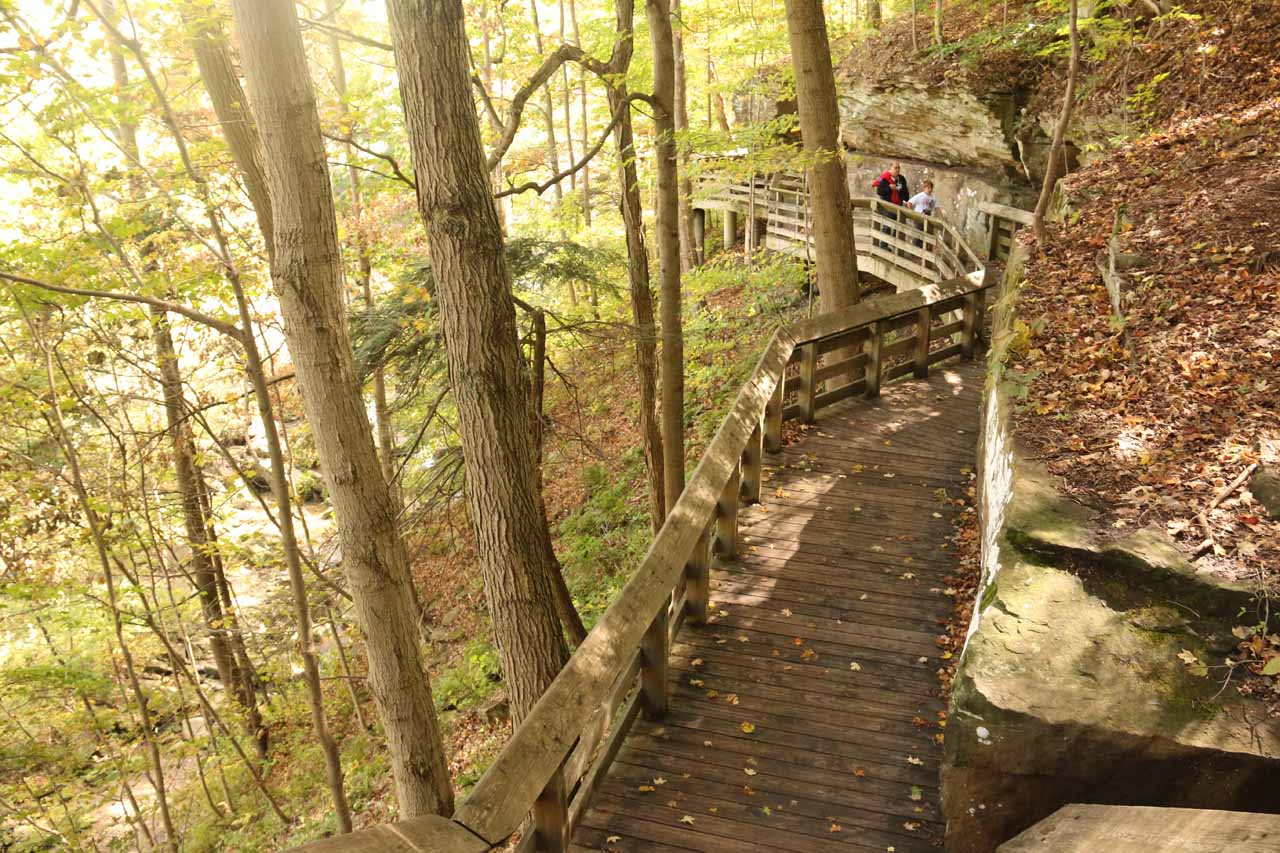 Now we took the boardwalk descending into the gorge which ultimately would bring us face-to-face with Brandywine Falls. Note that this walkway followed along the hard Berea Sandstone layer capping the softer Cleveland and Bedford shale
