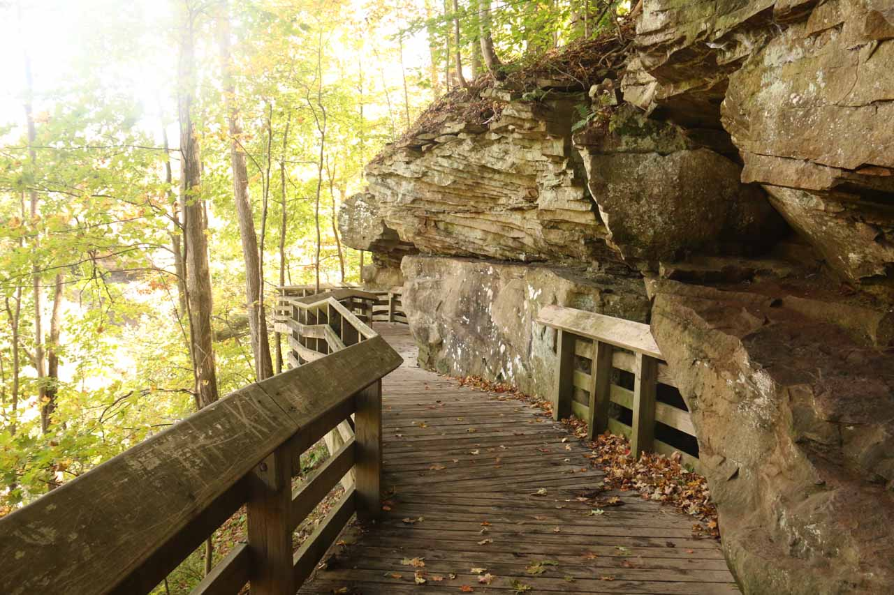 The boardwalk flanking gorge walls as it descended to the lower lookout for Brandywine Falls