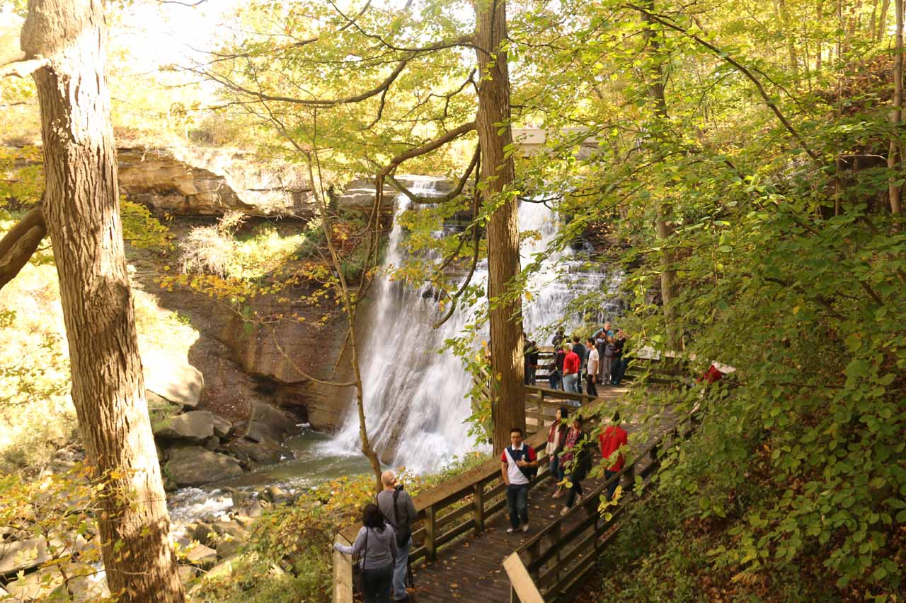 Looking back at the lower lookout for Brandywine Falls, which was now crowded