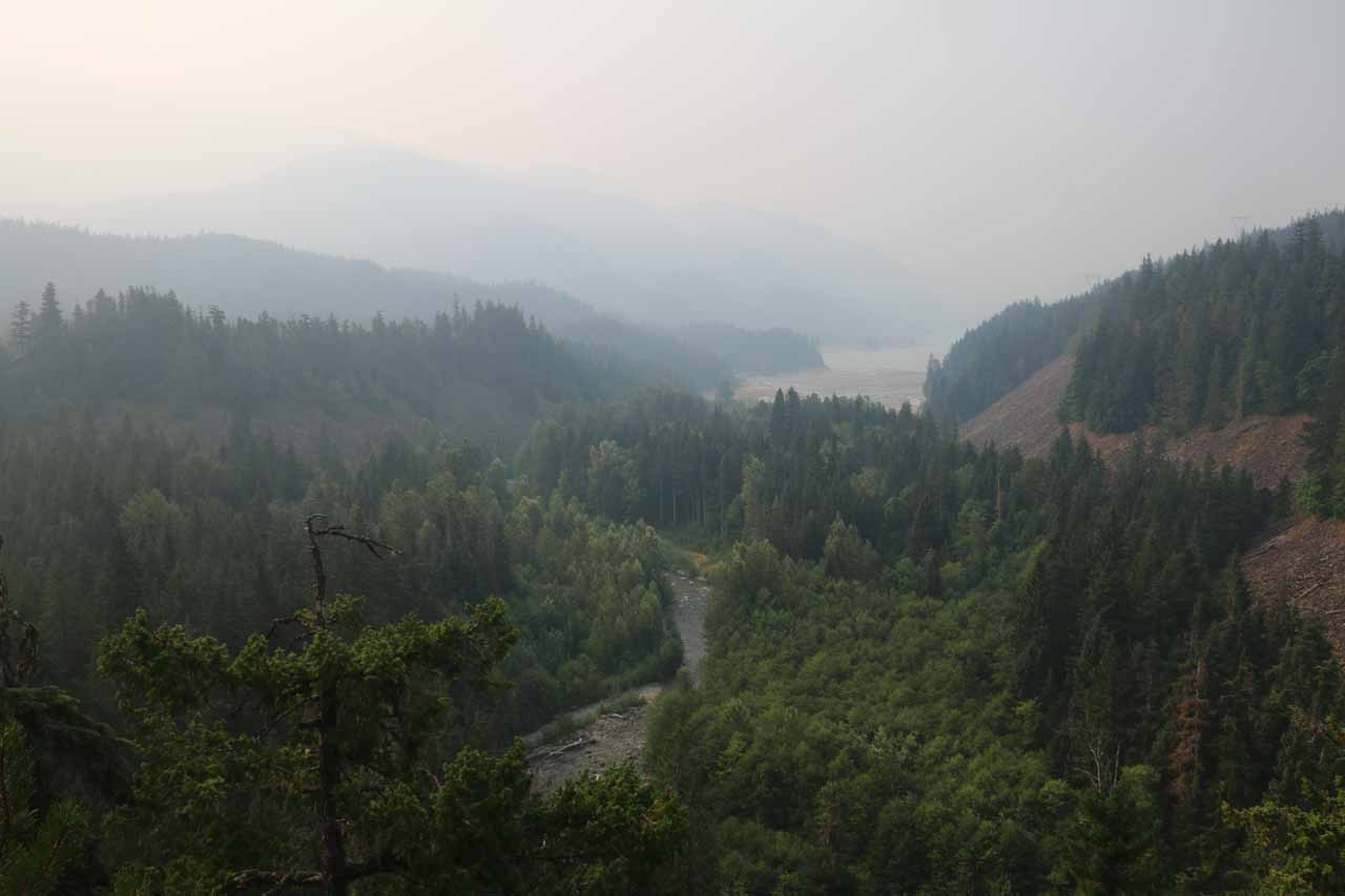 Looking down the Cheakamas Valley towards Daisy Lake amidst the thick smoke from the BC Forest Fires