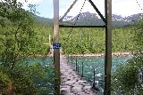 Bredekfossen_008_07082019 - The footbridge across Ranaelva leading to the private farm and beyond to Bredekfossen and Stormdalshei