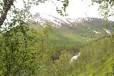 Bredekfossen_124_07092019 - Looking in the distance at part of Bredekfossen fronting the attractive snow-capped mountain above it