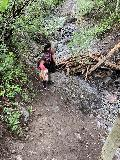 Bridal_Veil_Falls_003_iPhone_07222020 - Julie and Tahia getting across a trivial crossing of Ingram Creek along the Bridal Veil Creek Trail