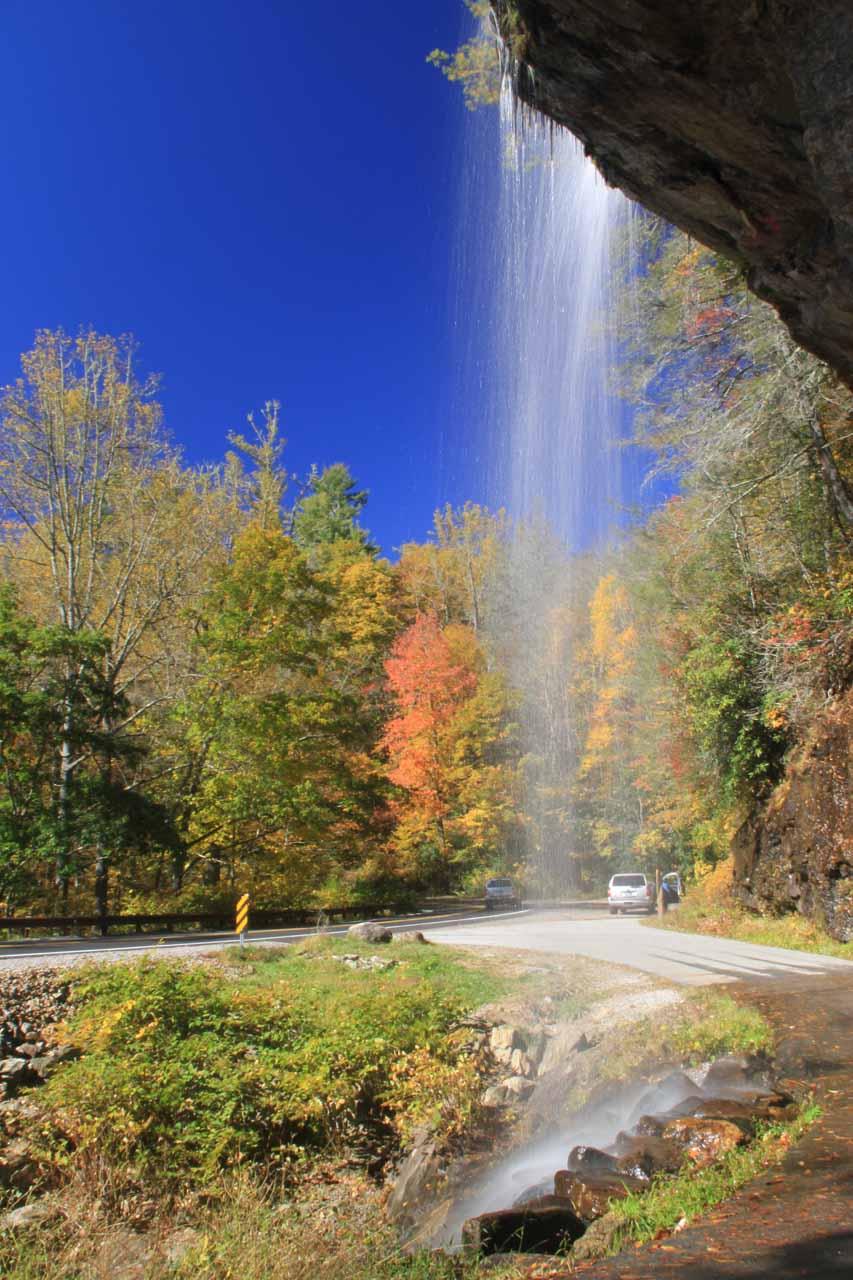 Amazing fall colors seen through Bridal Veil Falls