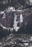 Bridal_Veil_Falls_CO_004_04162017 - Zoomed in look at the mostly frozen Bridal Veil Falls while approaching the Pandora Mine area